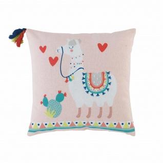 Kissen, Kompresse, Pompons, 40 x 40 cm, Baumwolle, Bedruckt, Motiv: Happy Lama Platz - Douceur d'intérieur