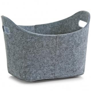 ZELLER Korb wäschekorb einkaufskorb aus Filz, grau 31, 5 x 19 x 21