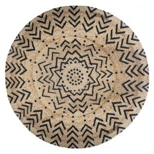 Jute-Teppich, rund, Ø 120 cm, geometrischer Aufdruck