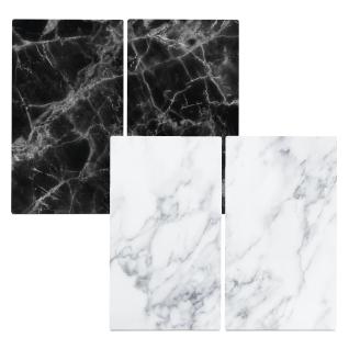 """ZELLER, Herdabdeck-/Schneideplatten """" Marmor"""", Glas, weiß, 30 x 52 x 1 cm, 2"""