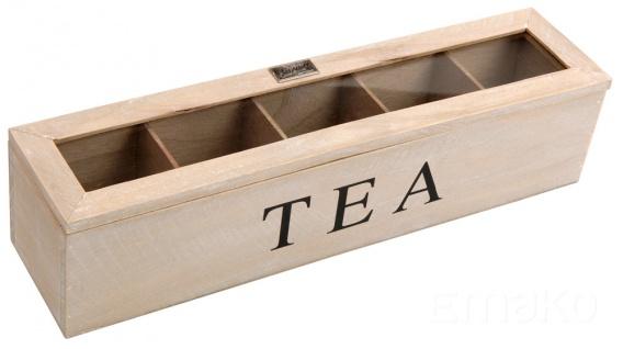 Teekiste Holz Teebox 5 Fächern Glasdeckel Tee Kiste Teekasten Teebehälter
