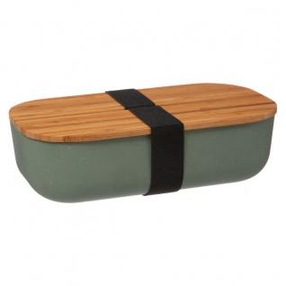 Lunch-Box mit Deckel aus Bambus, 20 x 11, 5 x 6 cm, grün