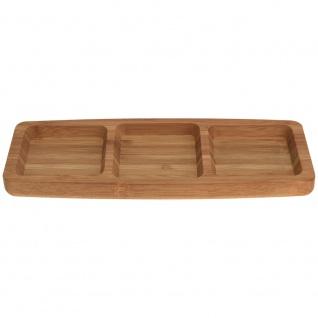 Serviertablett aus Bambus, Tablett für Snacks 26x10x2 cm - 3 Fächer