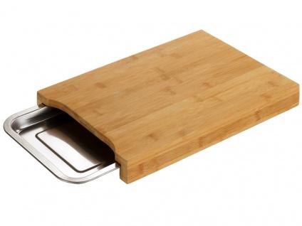 Schneidebrett mit einziehbarem Stahltablett, Küchenzubehör aus Bambus - 24, 5 x 35 cm, WENKO
