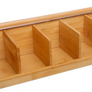 Teekiste, Teehaus aus Holz, Schatulle für Tee - 5 Fächer, Bambus - Vorschau 3