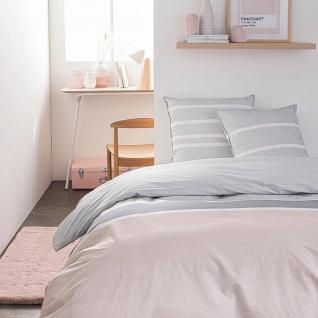 Bettwäsche aus Baumwolle, 220 x 240 cm, rosa-grau