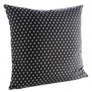 Deko-Kissen mit Fransen EVASION, Baumwolle, 50 x 50 cm, schwarz mit Muster