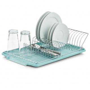 Trockner für Teller, separates Teil mit Abtropffläche, Metallständer für Geschirr und Besteck.