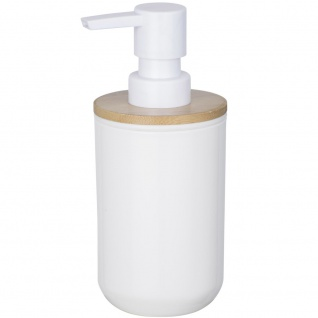 Spender für Flüssigseife, Behälter mit Pumpe aus Kunststoff und Bambus - 330 ml, WENKO