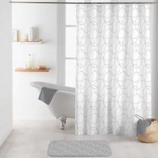 Duschvorhang ELTONI, 180 x 200 cm, weiß mit Kreisen