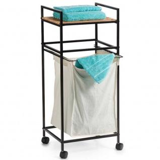 ZELLER Wäscherollwagen, mobiler Wäschekorb mit Bambusregal