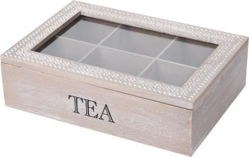 Teekiste Holz Teebox 6 Fächern Glasdeckel Teekasten Teebehälter - Vorschau