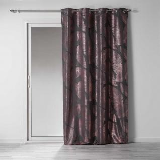 Ösenvorhang, 140 x 260 cm, Polyester Imp. Veggy Metall Anthrazit/Roségold - Douceur d'intérieur