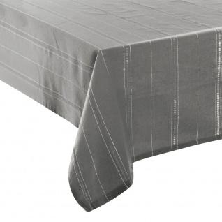 Tischdecke aus Baumwolle, Grau mit Durchschnitt, gestreift, Lurex, silberfarben, 140 x 240 cm - Fééric Lights and Christmas
