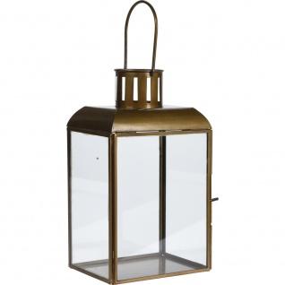Deko Laterne, Glas, rechteckig, Griff, 21 cm hoch, Glaswand, Messing, Altgold, Laterne