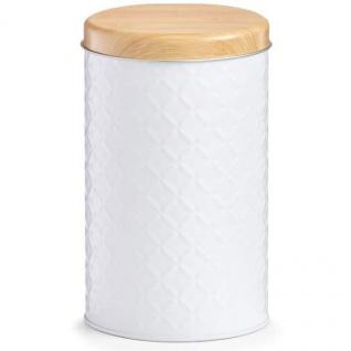 SCANDI Vorratsbehälter, hoch runder Bambusdeckel, weiß, Zeller