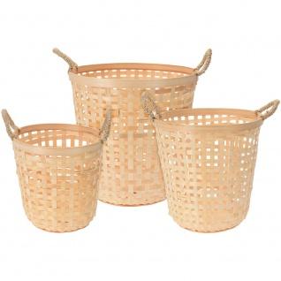 Ein runder Wäschekorb aus Bambus - 3 Stück im Set