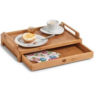 ZELLER, Frühstückstablett mit einer Schublade, 100% Bambus