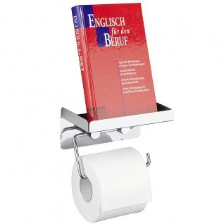 WENKO Toilettenpapierhalter 2 in 1, Edelstahl rostfrei