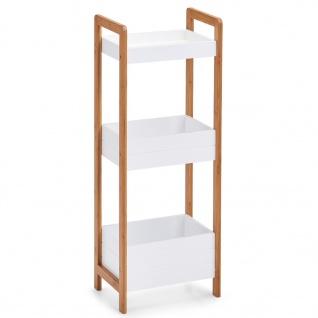 Bambusfaserregal, drei Körbe für Gegenstände, ein Möbelstück mit Behältern.
