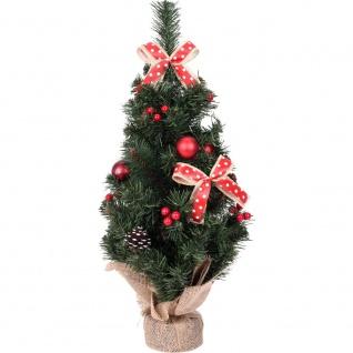 Künstlicher Weihnachtsbaum auf dem Stamm, mit Dekorationen und Zapfen, 60 cm - Home Styling Collection