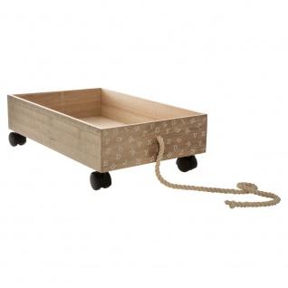 Holz-Kinderwagen in brauner Farbe ist ein Spielzeug, das jedes Kind reiten und erfreuen wird - Atmosphera