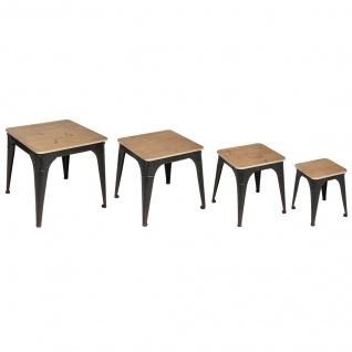 Couchtisch-Set NOIR, 4 Größen, Metall mit Holzplatte - Atmosphera