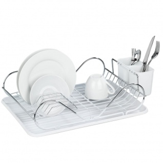 WENKO Geschirrhalter, Arbeitsplatte oder Spüle, mit Besteckbehälter, WENKO