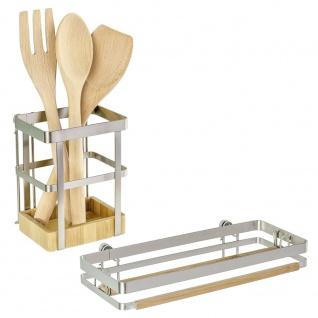 WENKO Küchenrollenhalter Premium Wandrollenhalter, Metall vernickelt, silber matt