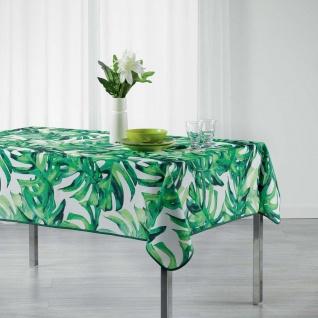 Tischdecke, rechteckig, CARVENAO, 150 x 200 cm, weiß mit Blätter-Motiv