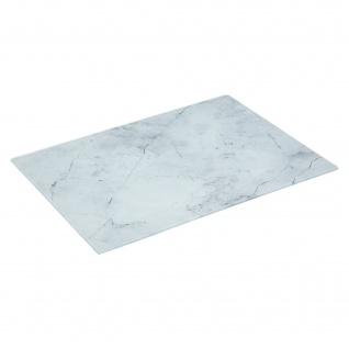 Schneidebrett aus Glas mit Marmor-Muster, weiß, 30 x 40 cm