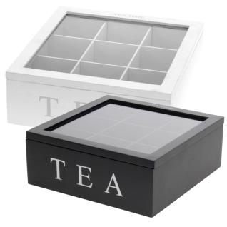 Holz Teebox TEA, 9 Fächer