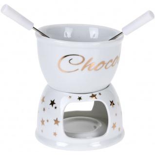 X-MASS Schokoladenfondue-Set, weiß mit goldenen Sternen - EH Excellent Houseware