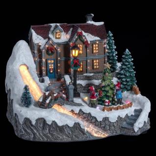 Weihnachtsszene mit Häuschen, beweglich, LED-Beleuchtung