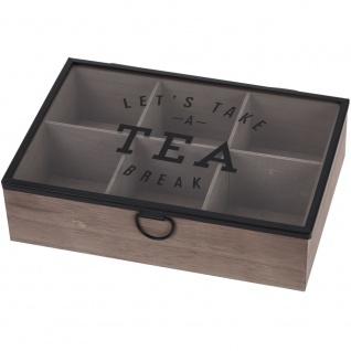 Teebox aus Holz mit 6 Fächern, Teedose 24x17x7 cm