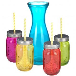 Glaskaraffe + 4 Gläser mit Strohhalmen, perfekt für Grill, Picknick