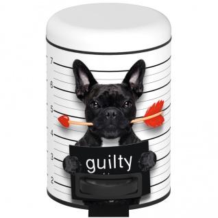 Wenko Kosmetik Treteimer Guilty Dog Kosmetikeimer, Mülleimer mit Tretmechanismus Fassungsvermögen 3 L, Stahl, Mehrfarbig, 22.5 x 17 x 25 cm