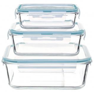 Vorratsdosen aus Glas, quadratisch, 3 Stück