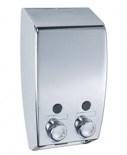 WENKO 2-Kammer Seifenspender Seifendosierer Dispenser Wandspender Varese Chrom
