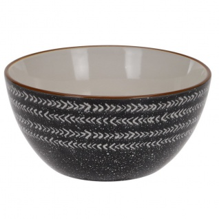 Salatschüssel aus Keramik, schwarz mit Pfeilmuster