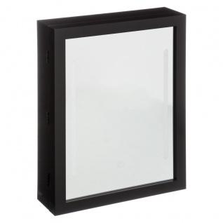 Schmuckkasten mit LED-Beleuchtung und Spiegel, 20 x 9, 5 x 40 cm, schwarz