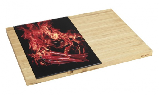 Bambus Schneidebrett und Panzerglasplatte, praktisches Küchenzubehör - 38 x 28 cm, 19 x 28 cm, WENKO