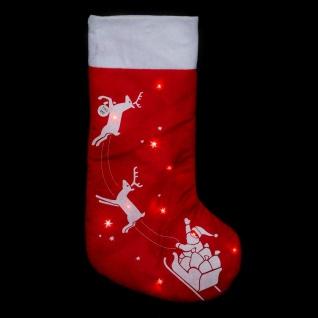 Weihnachtsmann-Weihnachtssocken mit LED-Beleuchtung, 45 cm - Fééric Lights and Christmas