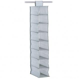 Zeller Textil-Hängeregal zur Aufbewahrung, 8 Fächer, grau, Vlies, ca. 18 x 30 x 105 cm