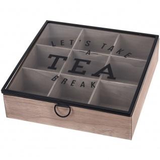 Teebox aus Holz mit 6 Fächern, Teedose 24x17x7 cm 24x24x7 cm