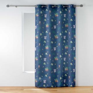 Ösenvorhang Marley, 140 x 260 cm, Polyester, Bedruckt, Blau - Douceur d'intérieur