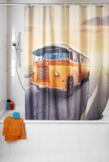 Anti-Schimmel Duschvorhang Vintage Bus - waschbar, 100 % Polyester, Mehrfarbig