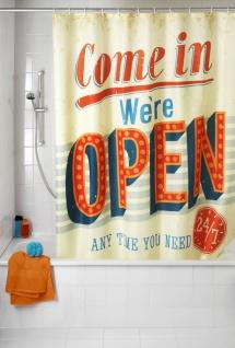 Anti-Schimmel Duschvorhang Vintage Open - waschbar, 100 % Polyester, Mehrfarbig