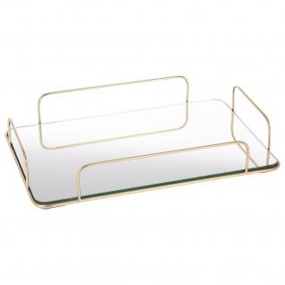 Serviertablett aus Glas mit Metall-Griffen, 25 x 32 cm