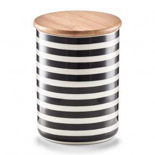 ZELLER, Keramikbehälter mit Bambusdeckel STRIPES, 580 ml